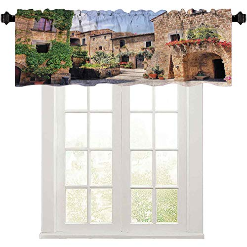 "Short Straight Drape Valance Tuscany,Italian Streets Countryside 50"" W x 18"" L Curtain Valance Window Treatment for Living Room"