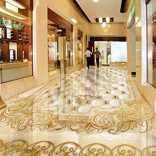 Papel tapiz mural de piso personalizado Estilo europeo Lujo Mármol dorado Rollo suave 3D Etiqueta de baldosas de piso Sala de estar PVC Decoración para el hogar-300 * 210cm