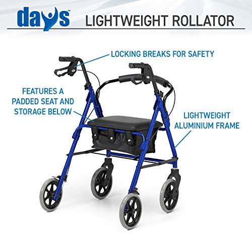 51e23i3cQUL - Rollator de ruedas livianas, andador de cuatro ruedas plegable con asiento acolchado, asas ergonómicas, bolsa de transporte, frenos bloqueables, ayudas para la movilidad, pequeño, azul