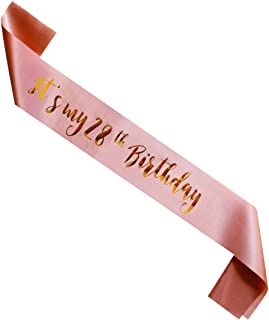 MAGJUCHE It's My 28th Birthday sash, Rose Gold Girl 28 Years Birthday Gifts Party Supplies, Women Pink Party Decorations