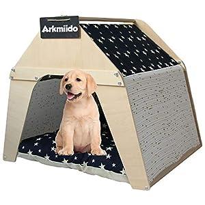 Arkmiido Casa de madera para mascotas, Tipi para perros y gatos, Tienda de lona para mascotas con cojín y tablero resistente a la intemperie, Interior o exterior. 5
