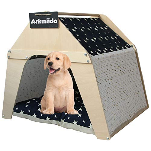 Arkmiido Casa de madera para mascotas