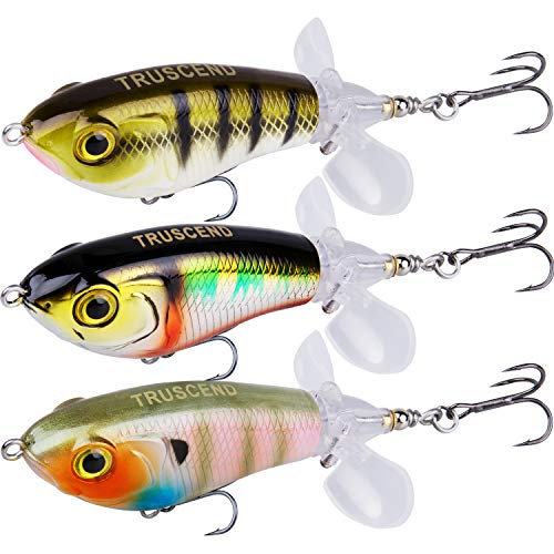 TRUSCEND Fishing Lures for Bass Trout Double Floating Rotating Tail Topwater Swimbaits Bass Lures Freshwater Saltwater Bass Fishing Lures Kit Lifelike Fishing Gifts for Men