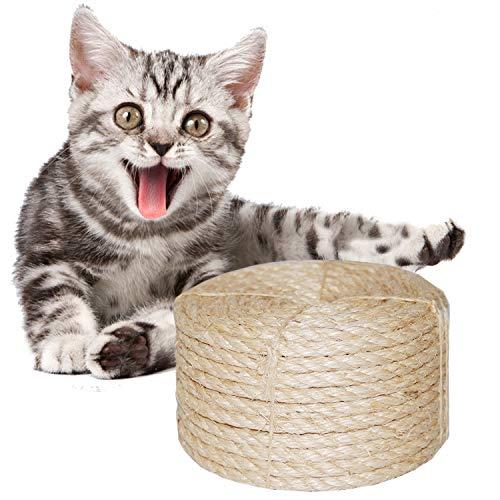 O'woda 10M Sisalseil für Kratzbaum Seil 8 mm, für Kratzbäume, Seil Kordel, Camping Seil, Garten, Mehrzweck Utility Sisal Seil DIY Handwerk Seil (10 Meter, Primärfarbe)