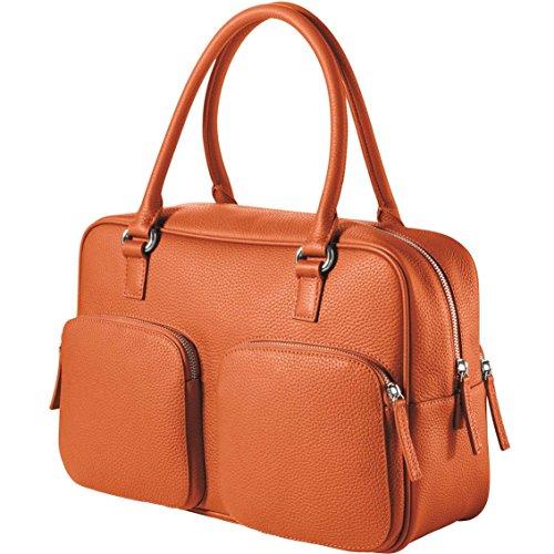 CHI CHI FAN City Bag - Orange | Damen Echt-Leder Handtasche aus genarbtem Rindsleder von Hamburger Designer-Label | Top Qualität, Design und maximale Funktion | Für Business und Freizeit