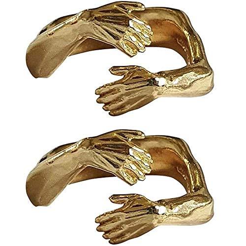 Kasituoer Couple Hug Ring - 10 pcs Adjustable Open Heart Love Hug Ring, Give Me a Hug Warm Love Adjustable Open Ring for Women Girls and Men Give to Your Lovers and Friends (Dorado)