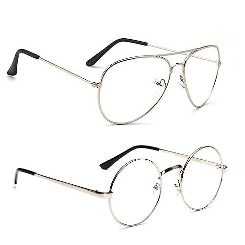 Professional Sale Canchange Vintage Fashion Round Frame Sunglasses Metal Frame Aviator Clear Lens Eyeglasses Women Girls Cute Sun Glasses Eyewear Men's Glasses