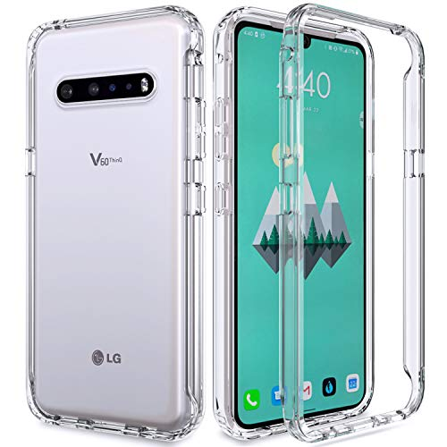 ANENQ Case for LG V60 ThinQ, Transparent Heavy Duty Shock-Absorbing and Scratch-Resistant Protective with TPU Bumper and Rugged PC Front Phone Cover for LG V60 6.8 inches (Clear)