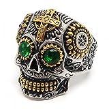 BOBIJOO Jewelry - Bague Chevalière Homme Tête de Mort Biker Maya Dorée Croix Acier Or Argenté Vert - 58 (8 US), Acier Inoxydable 316