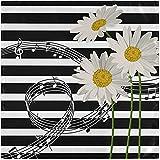 Juego de 6 servilletas de tela, negro, blanco, rayas, notas musicales, margaritas, flores, servilletas para la cena, servilletas de poliéster lavables, suaves, reutilizables, para el hogar, Navida