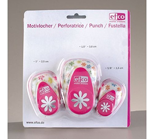 efco Design Daisy Punch 3 Teile-Set, Pink, 16 mm, 25 mm, 37 mm