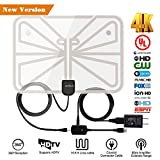 TV Antenna,2018 Upgrade Digital TV Antenna Best 50+ Miles Range with Amplifier Signal Booster for Indoor,UL USB Power Supply and 16.5FT High-Performance Coax Cable-1080P 4K Ready for FUN-Transparent