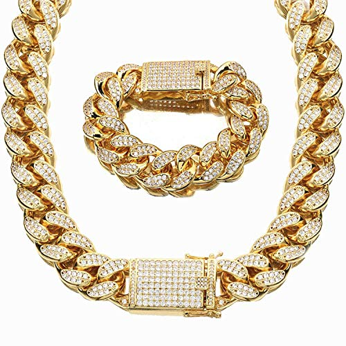 NCDFH Gold Color Rhinestone Cuban Necklace Bracelets Set Men Hip Hop Bling Iced Out Link Chain Jewelry 9inch Bracelet 30inch Necklace