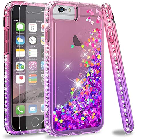 LeYi Compatible for iPhone SE 2020 Case, iPhone 8/7 / 6s / 6 Case with Tempered Glass Screen Protector [2 Pack] for Girls Women, Glitter Clear Phone Case for Apple iPhone 6/6s/7/8, Pink/Purple