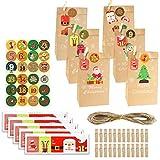 Calendario de Adviento de Navidad bolsas de 24 días calendario de papel kraft bolsas de regalo Set Navidad cuenta atrás elemento decoración