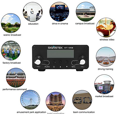 Signstek ST-05B Dual Mode Long Range Stereo Broadcast Home FM Transmitter with Antenna Silver