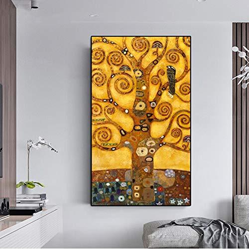 sanzangtang Abstrakte Dekoration Geld Leben Baum Moderne Ölgemälde Klimt Leinwand Malerei Set Wohnzimmer Wandbild Küche rahmenlose Malerei 20cmX35cm