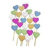XGzhsa Adornos para Tartas, 50 Piezas de Adornos para Tartas con Purpurina en Forma de corazón, Palillos de Dientes, decoración para Fiestas (Dorado,Azul,Verde,Rojo,Plateado)
