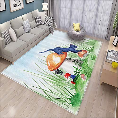 Animal Decor Home Custom Floor mat Little Cartoon Cat Black in a Mushroom Garden with Leaves and Flowers Art 6.6'x8',Can be Used for Floor Decoration
