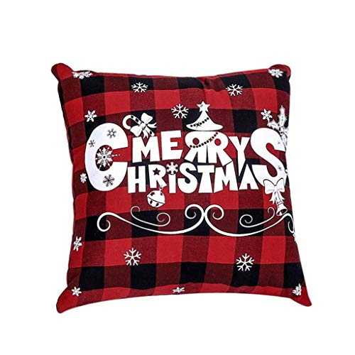 Shan-S Merry Christmas Pillow Case Throw Cushion Cover Xmas Tree Cotton Linen Winter Deer Pillow Covers Pillowcase Decorations for Christmas Halloween Thanksgiving Autumn for Sofa Couch Home Decor