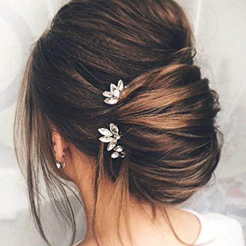 Runmi Horquillas para el pelo de novia de plata, accesorio para el pelo de novia, accesorio para el pelo de boda para mujeres y niñas (paquete de 3)