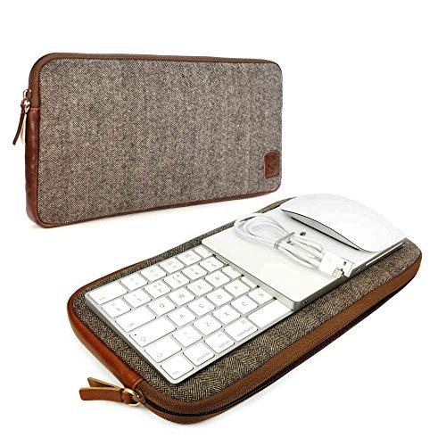 Tuff-Luv Herringbone Tweed Travel case für Apple Magic Keyboard 1 & 2 / Mouse 1 & 2 / Trackpad 1 & 2 - Braun
