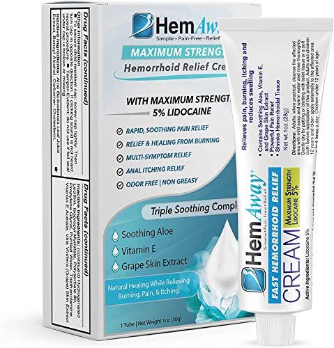 HemAway Hemorrhoid Relief Cream, Patented hemorrhoid Cream with 5%...