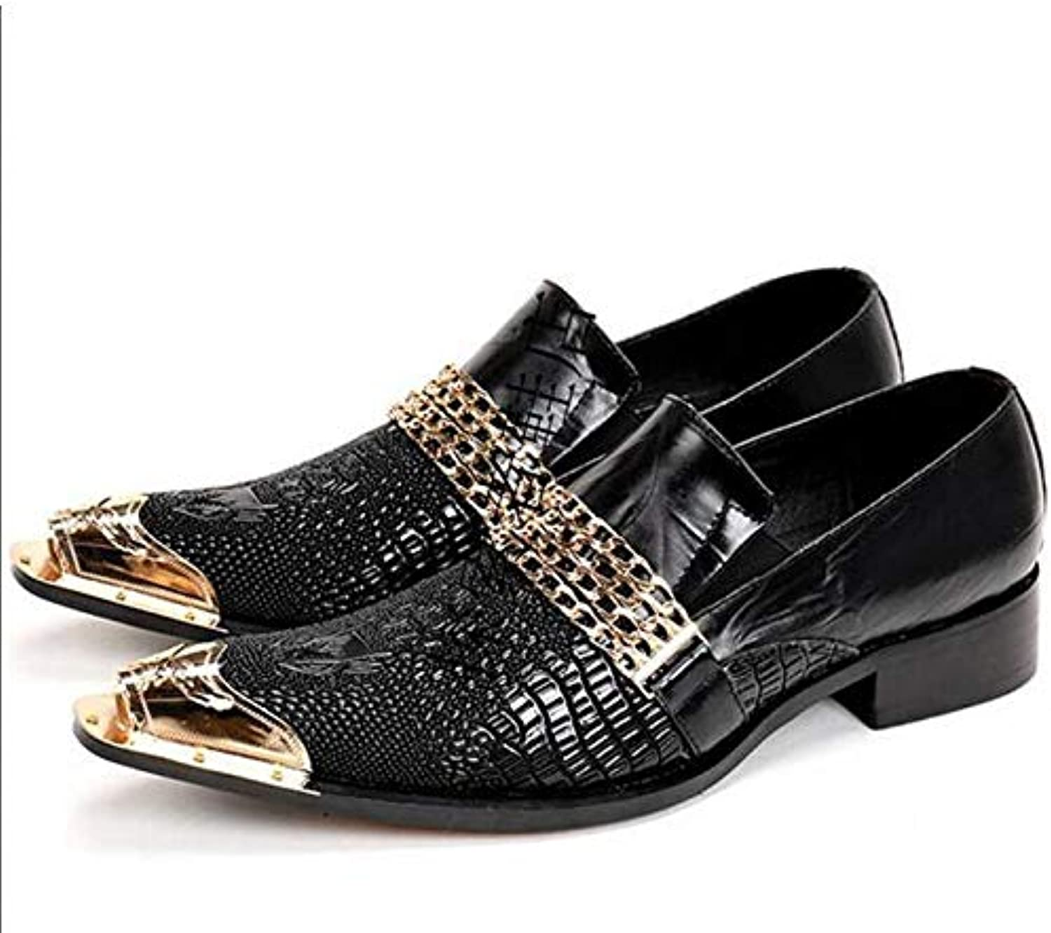 LOVDRAM MAN'S Leather skor Mode Mode Mode Italienska män Dress skor Retro Genuine Leather Crocodile Grain Män skor Party Wedding Slip On Men Flat Loafer  bästa mode