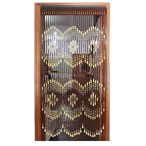 WYAN Türvorhang mit Perlen für Türen, Holz, dichter Fadengardine, Raumteiler, Heimdekoration (+ Befestigungsmaterial zum Aufhängen), für Fenster/Tür/Terrasse (Farbe: Natur, Größe: 70 x 180 cm)