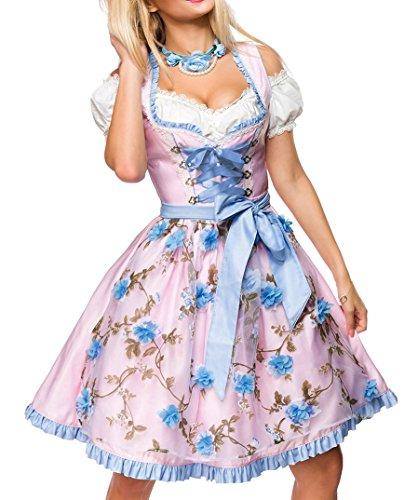 Dirndl Kleid Kostüm mit Herzausschnitt und Schnürung und Schürze aus glänzendem Stoff und Spitze Oktoberfest Dirndl blau/rosa/weiß S