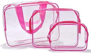 Aloiness - Juego de 3 bolsas de aseo de PVC transparente