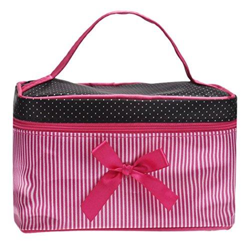 BZLine Sac à cosmétiques, Grand Sac de Rangement- Sac à Main Portable- boîte à lunch-19 * 12 * 11cm- Hot Pink carré Bow Stripe Hot