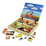 Muxihosn Wooden Magnetic Jigsaw Puzzles Toy Accessories Toddler Craft Dress-up Car Parts Matching Educational Game Travel Puzzle Games Double Sided Drawing Easel for Boys and Girls