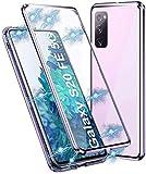Handyhülle für Samsung Galaxy S20 FE Hülle Magnetisch Adsorption, Schutzhülle 360 Grad Komplett Schutz Hülle 2 in 1 Metall Bumper mit Doppelte Seiten Gehärtetes Glas Schutz Cover,Helles Lila