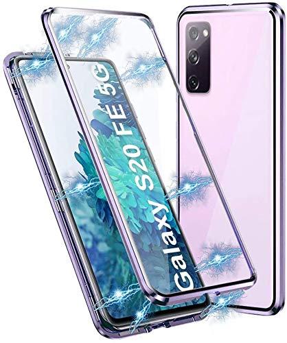 Gypsophilaa Hülle für Samsung Galaxy S20 FE 5G/4G Magnetische Adsorption Tech Handyhülle 360 Grad Schutz Starke Magneten Aluminiumrahmen Gehärtetes Glas Stoßfest Metall Flip Cover Hülle,Helles Lila