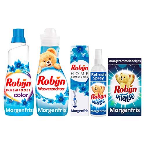 Robijn Morgenfris Was & Strijkpakket - Wasmiddel, Wasverzachter, Geurstokjes, Refresh Spray en Droogtrommeldoekjes
