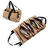 Super Capacity Tool Roll Pouch,Durable 12 Ampere Waxed Canvas Tool Organizer Bucket,Handmade Roll Up Tools Bag for Workshop Storage,Handy Small Tools Tote Carrier for Chisels Wrenches