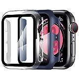 ZXK CO [2 Pezzi Cover per Apple Watch 44mm Series SE/4/5/6, Custodia PC + Pellicola Protettiva AntiGraffio HD, Copertura Completa Protezione Schermo in Vetro Temperato Integrata (Trasparente + Blu)