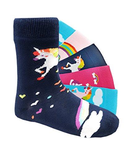 Kinder Socken handgekettelt 6 Paar aus besonders weicher Baumwolle bunter Mix (35-38, Einhorn)
