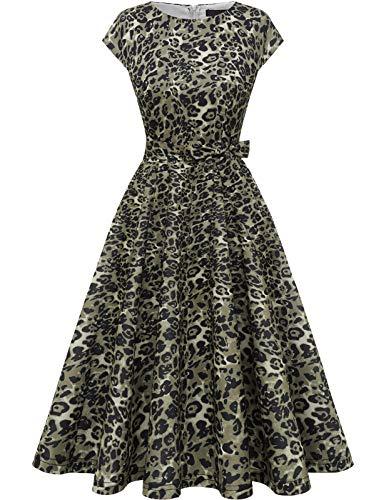 DRESSTELLS Damen 1950er Vintage Retro Rockabilly Petticoat Kleid Festliches Partykleider Cocktailkleid Midilang Brown Leopard M