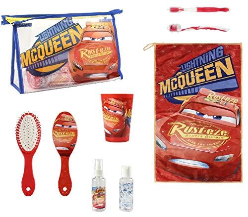 Disney Cars Hygiene-Set für Reisen, Schule, Bürste, Becher, Federmäppchen für Bürste, Handtuch, Kinder Cars