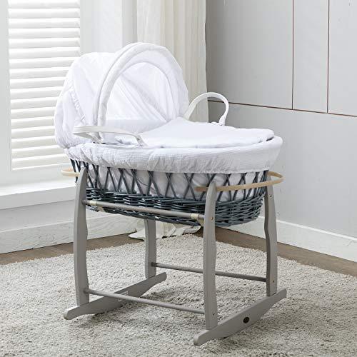 Mcc® Komplettset Moses Weidenkorb, Baby Korb, Stubenwagen, in grau mit Matratze, weißem Bezug und Schaukelgestell
