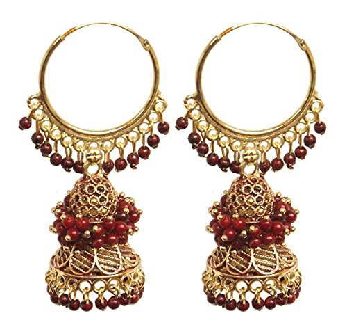 Pahal Ethnic Bollywood Jaipur - Pendientes de aro con perla de color rojo oscuro con diseño de jhumka, color rojo