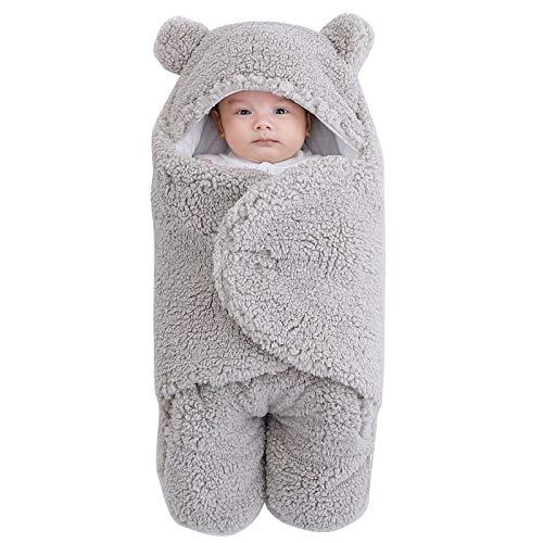 Homeriy Baby Wickeldecke, Winter Infant Soft Warm Hooded Wrap Sleeping Soft Warm Hooded Bag for Newborn Registry and Toddler Boy Gift