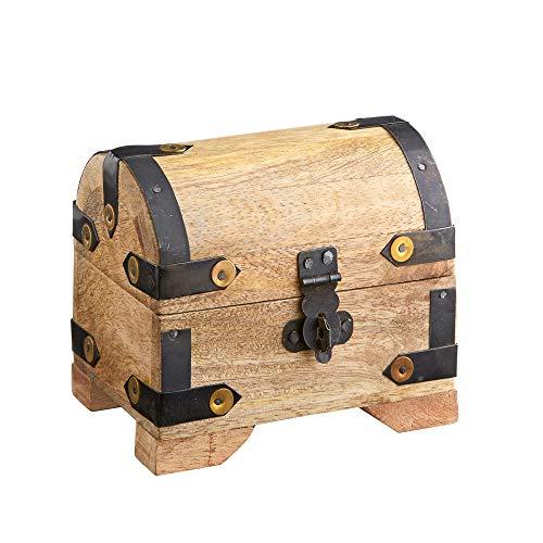 Casa Vivente Schatztruhe aus hellem Holz, Schmuckkästchen und Aufbewahrungsbox, Verpackung für Geldgeschenke