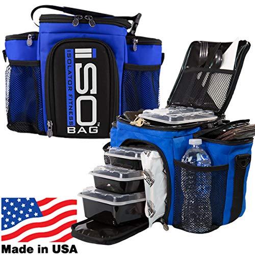 Isolator Fitness Isobag 3 Mahlzeiten Management System - Reverse Color (Blau/Schwarzer Akzent) Isolierte Mahlzeiten-Kühltasche