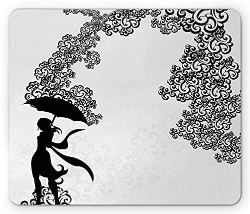 Regenschirm Mädchen Mauspad, Frau Silhouette mit wirbelnden Ornamenten Monochromdruck, Rechteck rutschfeste Gummi Mousepad, Standard Charcoal Grey White