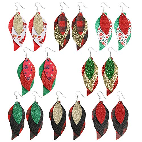 Sntieecr 8 Pairs Christmas Leaf Drop Fashion Earrings 3 Layered Glitter Faux Leather Earrings Christmas Santa Claus and Jingle Bells Printed Earrings Xmas Jewelry for Women Girls