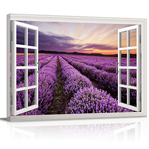 Canvas Print Wall Art Window View Purple Lavender Field at Sunset Scenery Picture Painting Modern Giclee Framed Artwork for Bathroom/Livingroom/Bedroom Decor 12x16in