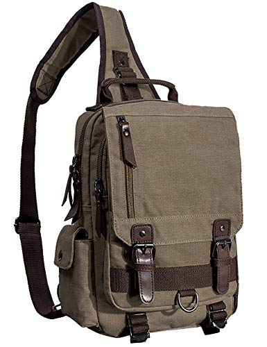 Mygreen Men's Canvas Sling Bag Backpack Crossbody Travel Chest Bags